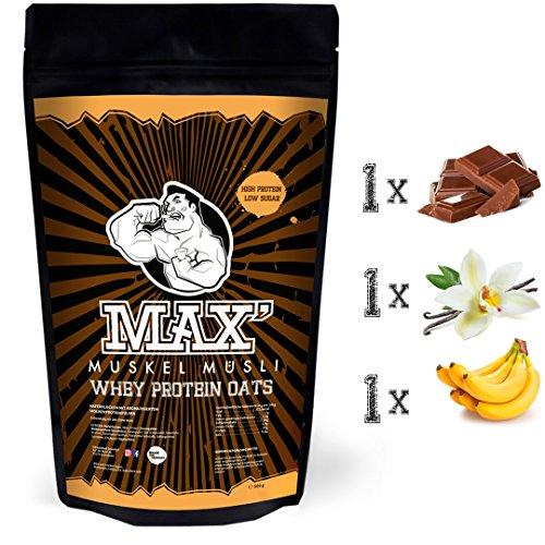 MAX MUSKEL MÜSLI Whey Protein Oats Müsli Haferflocken fein mit viel Eiweiß ohne Zucker-Zusatz & Nüsse Sportlernahrung für Muskelaufbau & gesundes Frühstück 3er Set Beutel Schoko Vanille Banane