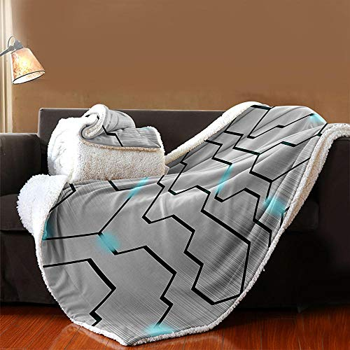 INFANDW Printed Fleece Throw Blanket for Adult Children Bed Blanket, Gray, Geometric Lines Pattern Soft Blanket Wool Microfibre Blanket Velvet Board Warm Office Nap, Microfibre 59 inch x 79 inch