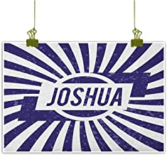 QIAOQIAOLO High Definition Printing Oil Painting Joshua Business Gift Popular Name for Men in Dark Blue Color on Radial Backdrop Worn Appearance W31 x L24 Navy Blue and White