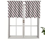 Hiiiman Short Straight Drape Valance Repeating Graphic Guitarras eléctricas en diagonal Orden Rock Music, Set de 1, 52 x 45 cm para ventanas de cocina