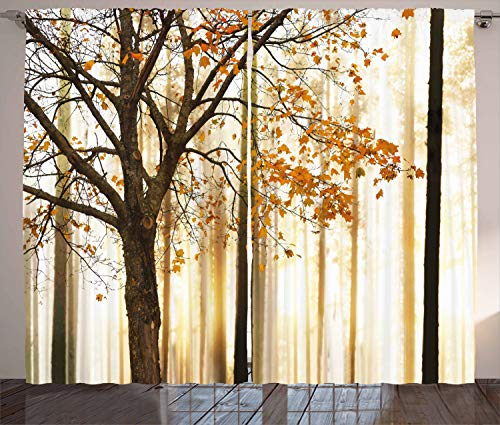 """Ambesonne Autumn Curtains, Bare Tree Branches with Tangerine Tones Fall Leaves, Living Room Bedroom Window Drapes 2 Panel Set, 108"""" X 84"""", Orange"""