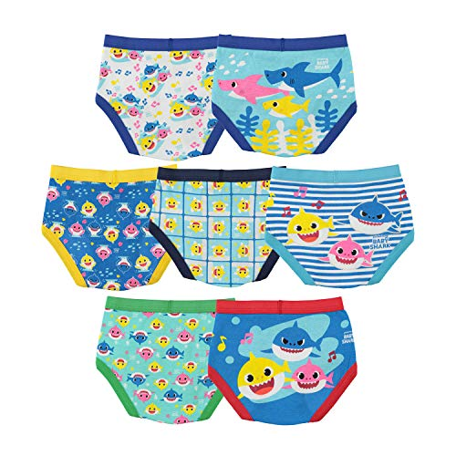Baby Shark Boys' Toddler Underwear Multipacks, Shark Tb 7pk, 2T/3T