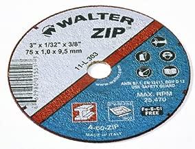 Walter 11L303 3x1/32x3/8 Zip Cut/Grind Wheels Type 1 A60 Grit, 25 pack