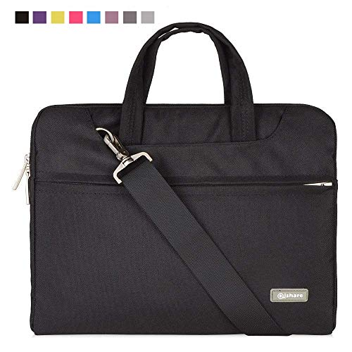 Qishare 10 11' 11.6' 11.6-inch 12 Inch Black Multi-functional Business Briefcase/Messenger Case with Handle and Carrying Strap for Macbook Air 11'', Hp Stream 11(Black, 11.6-12'')