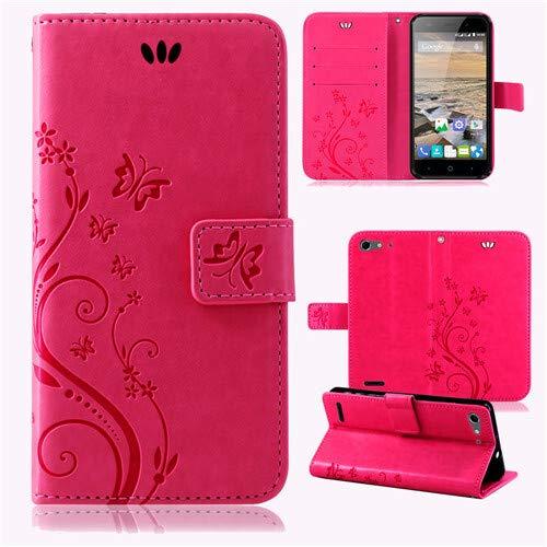betterfon | Flower Case Handytasche Schutzhülle Blumen Klapptasche Handyhülle Handy Schale für ZTE Blade V6 Pink