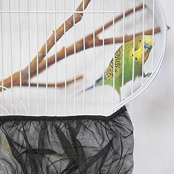 Matogle Couverture à Cage d'oiseaux L Housse en Filet à Cage d'Oiseau 66 × 28 cm pour Volière de Perruches Canaris Perroquets Etanche à Poussière Récupérer Graines (Noir)