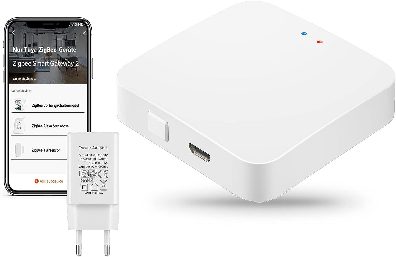 Tuya ZigBee Gateway, TEEKAR Smart Gateway Hub Compatible con Tuya los Dispositivos Inteligentes ZigBee 3.0, App Control Remoto Smart Home Bridge para domótica - Conecta hasta 55 Dispositivos