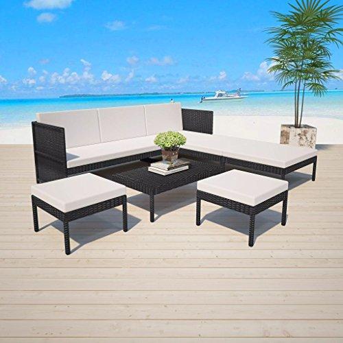 binzhoueushopping Tuinbank, 15-delig, loungeset, polyrotan, afmetingen van de grote zitzak, 58 x 55 x 30 cm (L x B x H), zwart apart te gebruiken