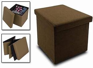 Cisne 2013, S.L. Puff baúl de almacenaje Cuadrado y Plegable multifuncion. Medidas 37,5 x 37,5 x 38 cm. Color Chocolate.