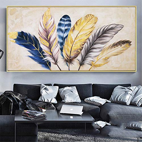 RAILONCH DIY Large Full Drill Feather 5D Diamond Painting Kits for Adults Home Wall Decor (120x50cm)