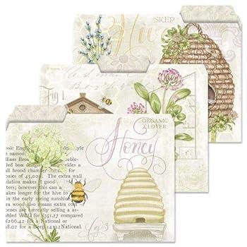 Art of Beekeeping File Folders - Set of 12  3 Designs  1/3 Cut Staggered Tabs Letter Size Designed Folders