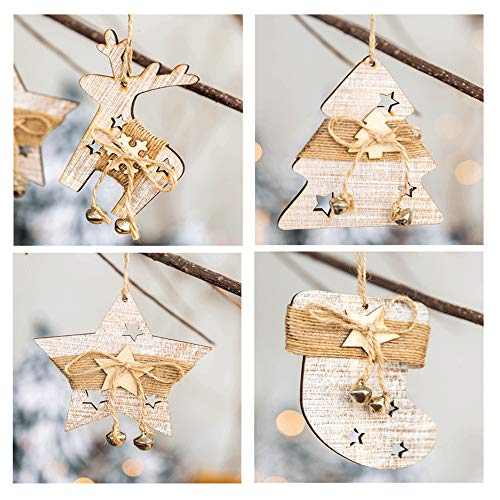 walenbily Weihnachtsanhänger, 4pcs Baumschuck, Holzanhänger für Weihnachten, Deko Anhänger
