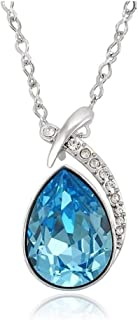 YOFEEL 18K Gold Plated Crystal Necklace Silver/Blue/Crystal