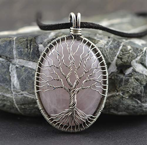 Crystal Quartz Necklace Pendant Wire Wrapped Tree-of-Life Necklace April Birthstone Necklace Protection Amulet Gift for Wife Gift For Mother