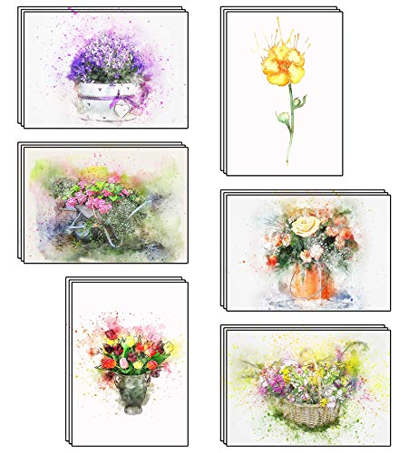 48 umweltfreundliche Blanko Grußkarten mit Aquarell Blumenmotiven und recycelten Umschlägen