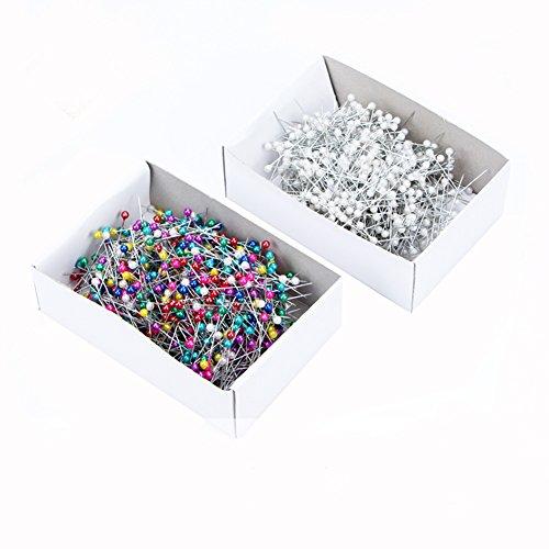 Stecknadeln, verschiedene Farben, Glaskopf, dekorativ, 800Stück weiß