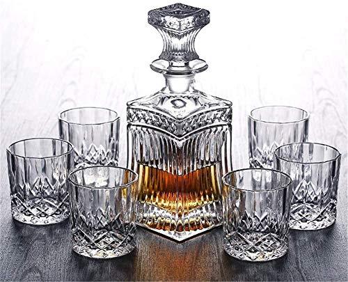 JILIGUALA Bicchiere di Vetro di Vetro di Whisky Decanter anicée Gratuito con Cappuccio e 6 Cocktail per Occhiali Scozzesi, Whisky...
