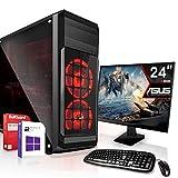Komplett PC Set Office/Multimedia inkl. Windows 10 Pro 64Bit! - AMD Quad-Core A10-9700 4X 3.8 GHz Turbo - AMD Radeon R7 4GB Grafikchip - 8GB DDR4 RAM - 256GB SSD - 24-Zoll TFT Monitor