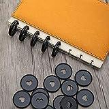 Chzimade - 12 anillas de plástico con forma de corazón, con agujero para setas, color negro