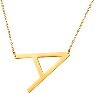 Alphabet Initial Jewelry Women Girls Necklace with Letter A to Z Stainless Steel / 18K Gold Plated Iced Out CZ Crystal or Statement Sideways Initials Choker Pendant Necklace