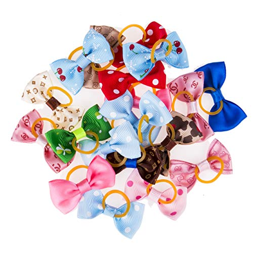 YUNGYE 20pcs Chien Chat Chiot Barrettes Bows Cheveux Cravate Bowknot Hairpin Toilettage for Animaux Décor Mignon (Color : 20Pcs Muti Color, Size : Size Fits All)