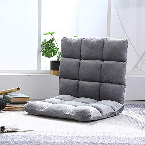 Samt Klappboden Sofa Stuhl Liege Tatami mit Verstellbarer Rückenlehne für Schlafzimmer Wohnzimmer Dick gepolsterter Schaum Lazyboy Sofa Stühle für Boden Gaming TV für Erwachsene Kinder (Grau