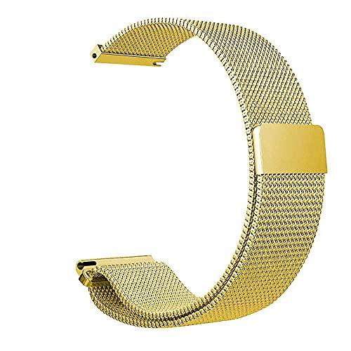 G-RF 18mm/ 20mm/ 22mm Magnética Milanesa Universal Bandas De Repuesto, Metal Plano De Acero Inoxidable Correa (20mm,Oro)
