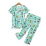 FGVBC Conjunto De Pijamas De 2 Piezas para Mujer, Ropa De Dormir Estampada De Talla Grande, Conjuntos De Pijamas De Algodón con Pantalones