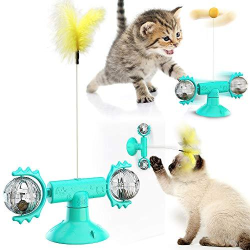 Gobesty Interaktives Katzenspielzeug, Windmühle Katzenspielzeug, Puzzle Katzenspielzeug mit Interaktiver Feder und Ball, mit Katzenminze und Saugnapf, für Katze Zum Spielen,BeißEn,Kauen Und Treten