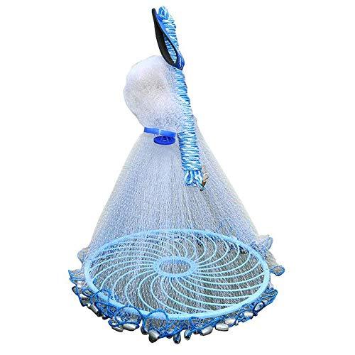 Csatai Angeln Net, Fischernetz, Outdoor Nylon Falt Fangnetz Fisch Garnelen-Käfig Falle Netz, handgefertigt, Salzwasser, Wurfnetz (Style1,3M)