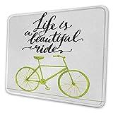 Fahrrad ergonomische Mauspad Leben ist eine schöne Radtour Zitat Druck mit Pastellfarbe einzigartige Fahrrad Grafik Mauspad für Frauen hübsch grün schwarz