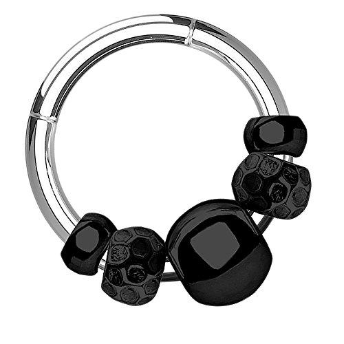 Piersando Universal Piercing Ring Clicker für Septum Tragus Helix Ohr Nase Lippe Brust Intim Tribal mit beweglichem Beads Perlen Anhänger Silber Schwarz