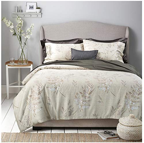 Eikei Vintage Botanical Flower Print Bedding 400tc Cotton Sateen Romantic Floral Scarf Duvet Cover 3pc Set Colorful Antique Drawing of Summer Lilies Daisy Blossoms (King, Hint of Lime)