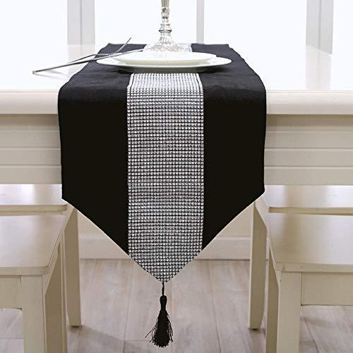 Branfan Tafelloper, tafelkleed, strepen, lange sfeer, modern, minimalistisch, met strass-steentjes, 33 x 250 cm