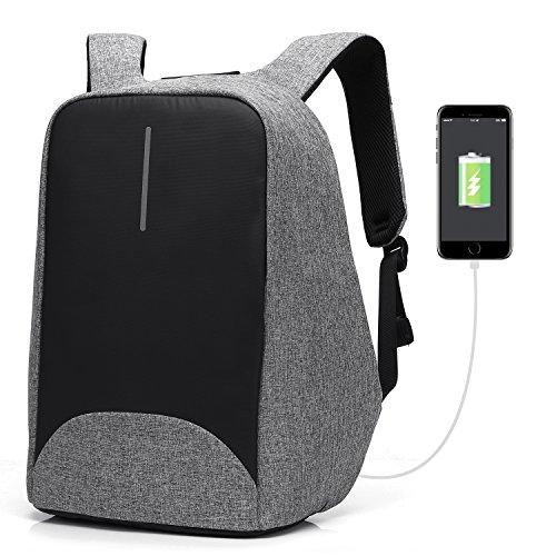 CoolBELL Zaino Antifurto per Portatili Porta di Ricarica USB/Zaino per Studenti Leggero/Funzionale Borsa per Il Lavoro/Zaino Impermeabile per Uomini/Donne/Adolescenti (Grigio)