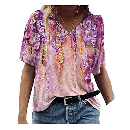 N\P camiseta de mujer suelta de manga corta con cuello en v