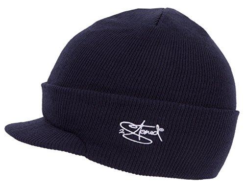 2Stoned Mütze mit Schirm Visor Beanie Cap Deluxe, One-Size Damen und Herren, Dark Navy