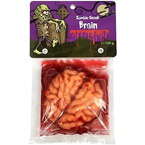 Bonbon en forme de cerveau gélifié pour Halloween ou thème de fête, anniversaire, décoration : horreur, zombie, sang, terreur. Parfait pour décorer et ambiance vampire - Poids 120g