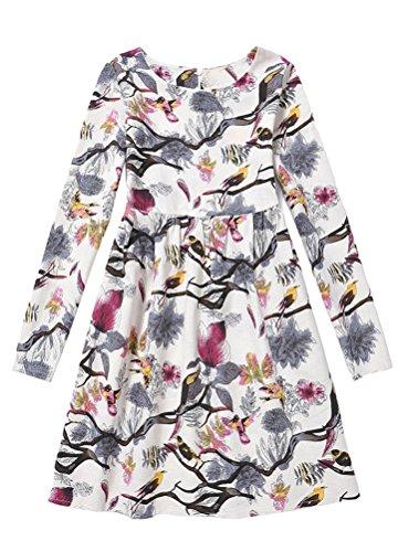 Mallimoda Prinzessinnenkleid für Mädchen, langärmelig, Baumwollleinen, Blumenmuster - - 11-12 Jahre