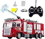 Wghz Camión de Bomberos con rociador de Agua con Control Remoto de Alta simulación, Coche eléctrico RC Profesional de 2,4 GHz con luz y Sonido, Modelo de automóvil de Juguete Recargable para niño