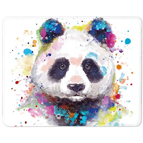 Watercolor Cute Panda Animal Mouse pad with Stitched Edge,Non-Slip Rubber Base,Colorful Mouse Pad for Computers, Laptop, Office ,Home,Gift,11x8.5 inch (Watercolor Panda, Small)