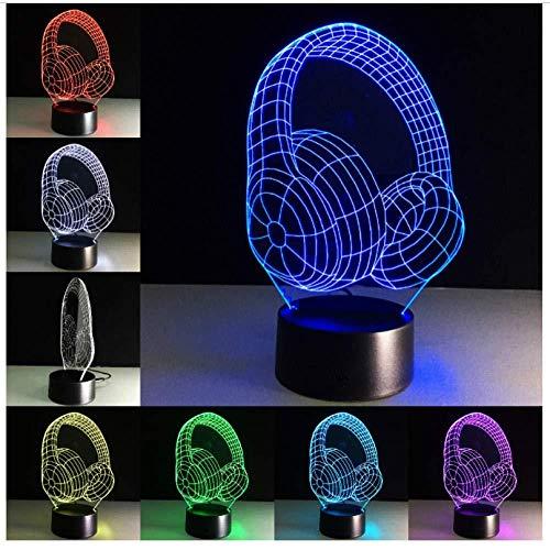 Nachtlicht 3d dj kopfhörer nachtlicht studio musik monitor headset bunte musik kopfhörer led tischlampe junge schlafzimmer dekor beste geschenke