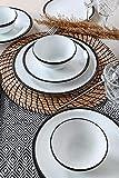 Set di 24 piatti in porcellana per 6 persone, piatti fondi, piatti, piatti piani da dessert e ciotole, servizio da tavola moderno in stile vintage