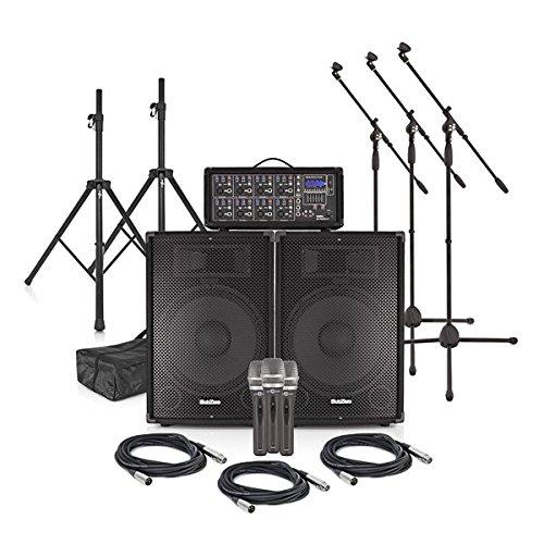 Sistema de PA de 300 W y 15'SubZero SZPA-815 con Micrófonos y Soportes