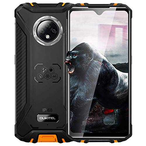 Móvil Resistente OUKITEL WP8 Pro NFC Google Pay Telefono Móvil Libre Android 10 4GB+64GB Procesador smartphone Octa-Core Telefono 6.49 pulgadas HD+ InCell Drop Screen Impermeable Triple cámara Naranja