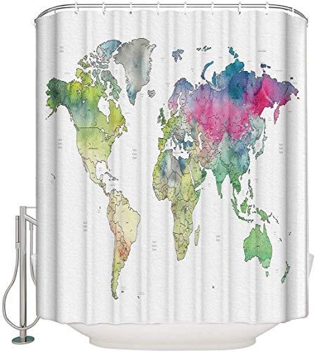 JOOCAR Design Duschvorhang, bunte Weltkarte, Wasserfarbe, weißer Hintergr&, wasserdichter Stoff, Badezimmer-Dekor-Set mit Haken