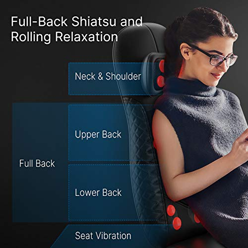 Back Massager with Heat, RENPHO Chair Massage Pad, Shiatsu Back and Neck Massager for Chair, Massage Cushion with Heat, Height Adjustable Massage Seat, for Shoulders, Full Body, Gifts for Mother