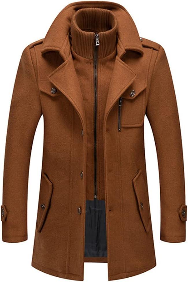 JJZXC Blends Coats Autumn Winter Solid Color Cold Resistant Men Woolen Overcoat Double Collar Casual Trench Coat Male (Color : A, Size : 4xl)