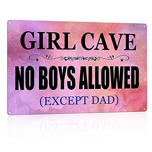 N A Funny Girl Cave Metal Tin Sign Decor Bar Daughter Pink No Boys Perlowed Bedroom Door, 8 x 12 pulgadas