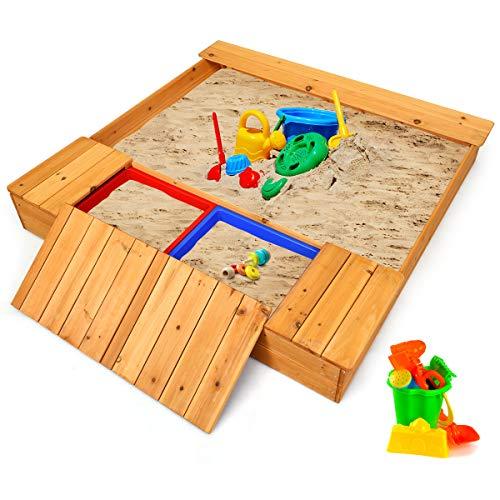 Costzon Kids Wooden Sandbox with Bench Seats & Storage Boxes, Covered Cedar Square Cabana Sandbox, Children Outdoor Playset for Backyard Home Lawn Garden Beach, Wood Play and Store Sandbox (Natural)